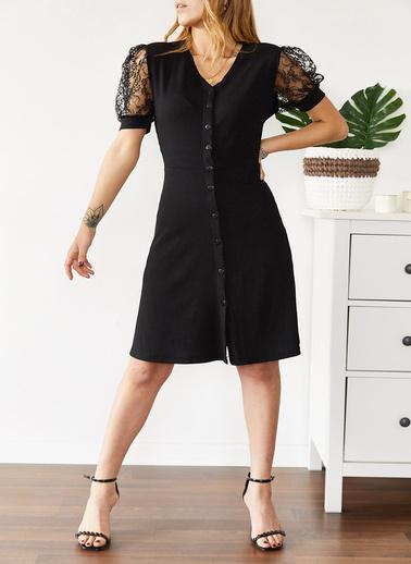 XHAN Tül Detaylı Kaşkorse Elbise 0Yxk6-43579-04 Siyah